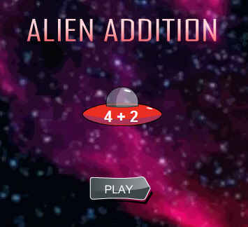 Picture of a ScreenShot of & Link to the Online game - Alien Addition