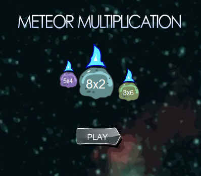 Picture of a ScreenShot of & Link to the Online game - Meteor Multiplication